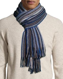 Neiman Marcus - Micro-Stripe Wool Scarf