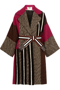 Fendi - Patchwork Wool-Blend Bouclé Coat