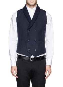 Hardy Amies   - Knit Shawl Lapel Glen Plaid Waistcoat