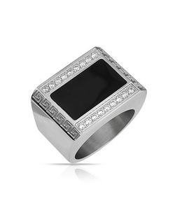 Bling Jewelry - Color Greek Key Stainless Steel Ring