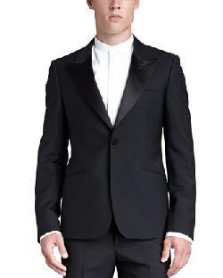 Alexander McQueen  - Satin-Lapel Tuxedo Jacket, Black