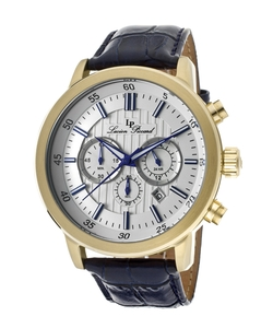 Lucien Piccard - Leather Silver-Tone Dial Watch