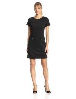 Donna Morgan - Short Sleeve Pocket and Hardware Deatil Sheath Dress