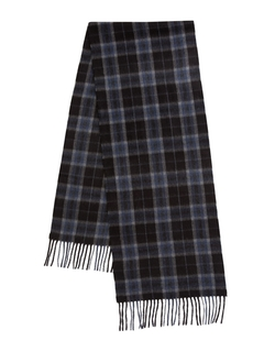 Black Brown 1826  - Fringed Plaid Cashmere Scarf