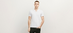 Reaction Kenneth Cole   - Striped Henley T-Shirt