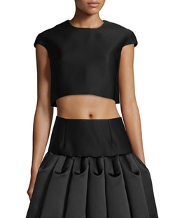 Co   - Cap-Sleeve Crop Top