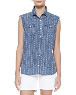 True Religion  - Sleeveless New Georgia Print Shirt, Geo Blue