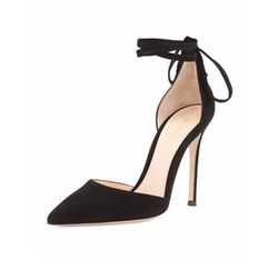 Gianvito Rossi - Suede Ankle-Wrap Pumps