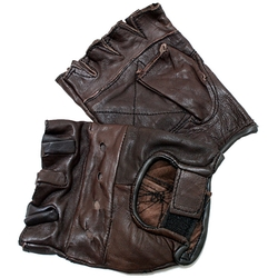 Defender - Brown Extra-Large Leather Fingerless Gloves With Velcro Strap