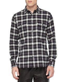 Vince - Long-Sleeve Plaid Two-Pocket Shirt