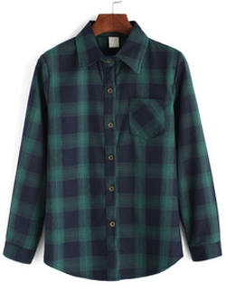 Romwe - Lapel Plaid Pocket Buttons Green Shirt