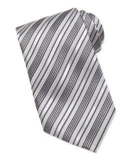 Stefano Ricci  - Multi-Stripe Silk Tie, Silver/Black