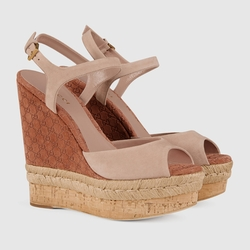 Gucci - Suede Open Toe Wedge