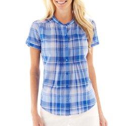St. John's Bay - Short-Sleeve Pintuck Woven Shirt