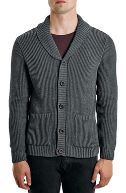 Topman  - Rib Knit Shawl Collar Cardigan