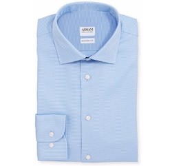 Armani Collezioni - Modern-Fit Textured Dress Shirt