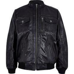 River Island - Boys Black Leather Bomber Jacket