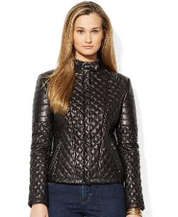 Lauren Ralph Lauren  - Quilted Leather Moto Jacket