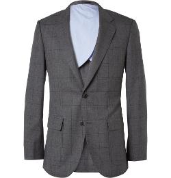 J.Crew   - Grey Ludlow Windowpane-check Wool Suit Jacket