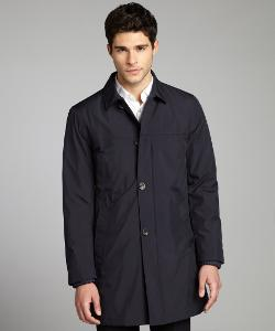 PRADA  - Navy Water-Resistant Button Down Three-Quarter Coat
