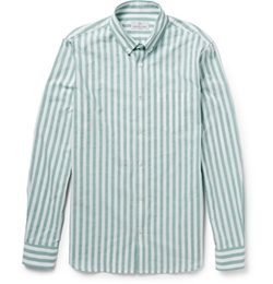 Hentsch Man   - Button-Down Collar Striped Cotton Shirt