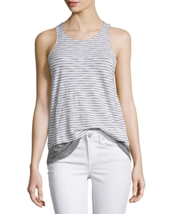 Vince - Striped Mixed-Media Slub Tank Top