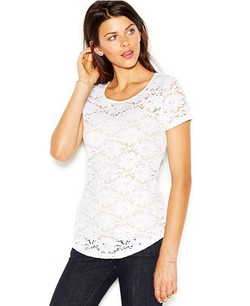 Maison Jules - Short-Sleeve Scoop-Neck Lace Top