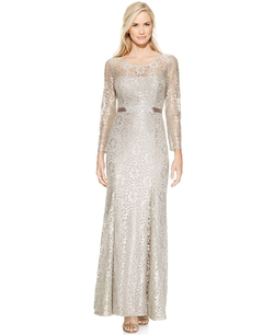 Betsy & Adam - Long-Sleeve Open-Back Lace Gown