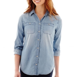 Stylus - Long-Sleeve Boyfriend Denim Shirt
