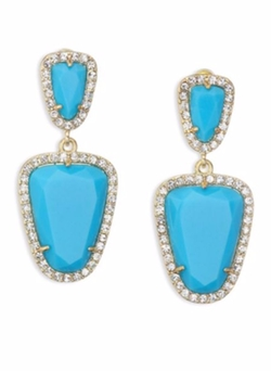 ABS by Allen Schwartz Jewelry  - Turquoise Goldplated Double Drop Earrings