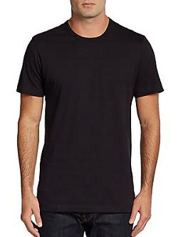 Saks Fifth Avenue Black  - Classic Ice Cotton Crewneck Tee