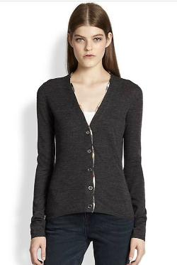 Burberry Brit - Merino Check-Trim Cardigan