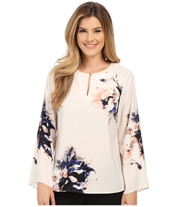 Vince Camuto - Bell Sleeve Duet Floral Keyhole Blouse