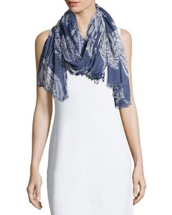 Neiman Marcus   - New Paisley Voile Scarf