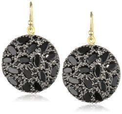 Fern Freeman  - Rhodium Silver Small Black Spinel Disc Earrings