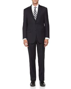 Hickey Freeman  - Mini Herringbone Wool Suit, Navy