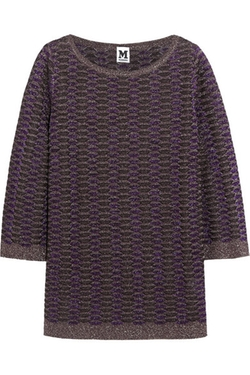 M Missoni - Metallic Crochet-Knit Tunic Top