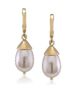Carolee  - Make Me Blush Hoop Pearl Drop Earrings