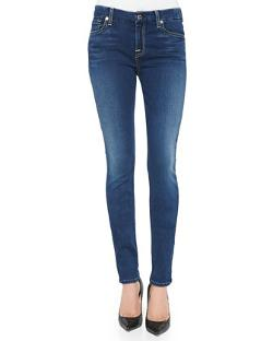7 For All Mankind - Mid-Rise Faded Skinny Jeans