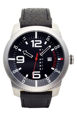 Tommy Hilfiger  - Round Leather Strap Watch