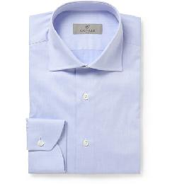 CANALI   - BLUE CUTAWAY-COLLAR COTTON SHIRT