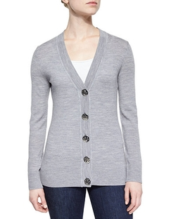 Tory Burch  - Simone Button-Front Wool Cardigan