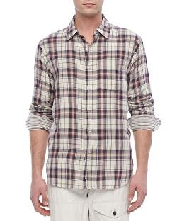 Rag & Bone  - Plaid Beach Shirt, Navy/White