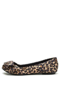 Qupid - Leopard Satin Ballet Shoes