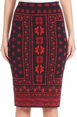 Alexander McQueen  - Floral Jacquard Intarsia Knit Pencil Skirt