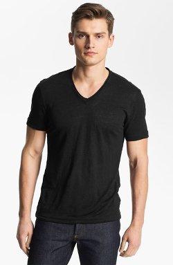John Varvatos Collection  - V-Neck Linen T-Shirt