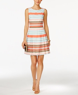 CeCe by Cynthia Steffe - Claiborne Striped Fit & Flare Dress