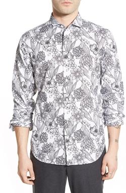 Bonobos  - Slim Fit Floral Print Spread Collar Sport Shirt