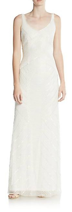 Adrianna Papell  - Beaded Long Sheath Gown