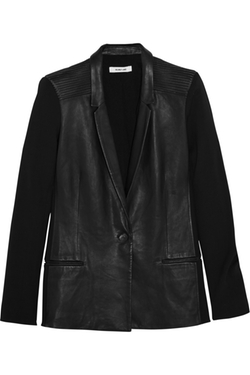 Helmut Lang - Crepe-Paneled Leather Blazer